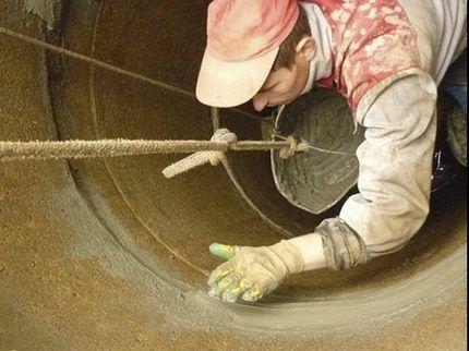 Нанесение бетонного раствора
