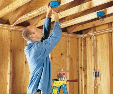 Монтаж многолампового потолочного светильника