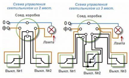 Схемы включений «коридорных» и «лестничных» лампочек