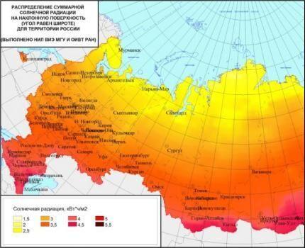 Карта инсоляции – потока солнечной радиации России