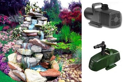 The work of surface pumps for fountains and waterfalls