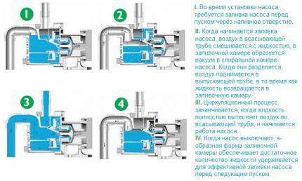 Схема работы самовсасывающего насоса
