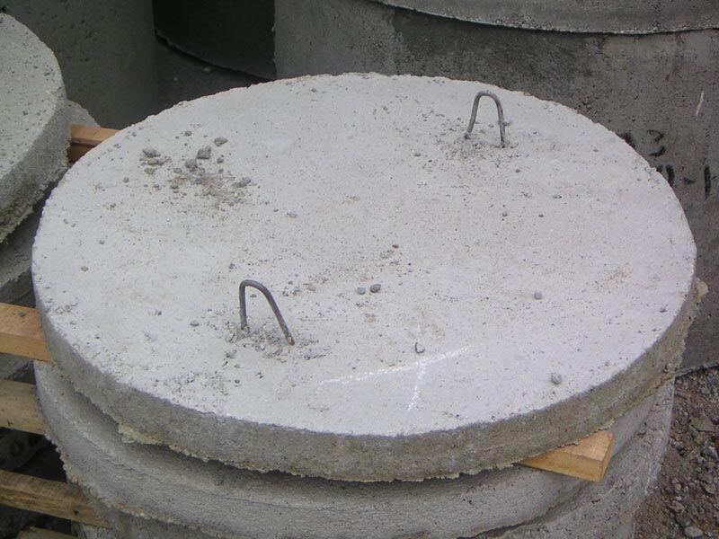Concrete bottom of the manhole