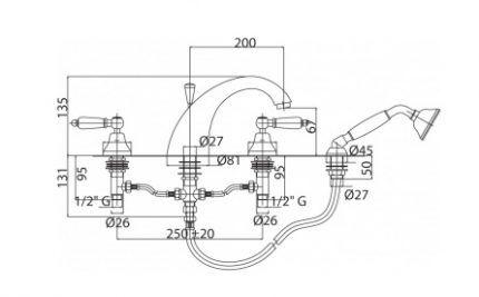 Схема установки смесителя на борт ванны