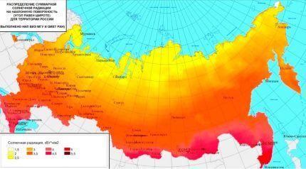 Карта интенсивности солнечного излучения