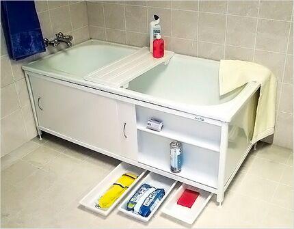 Вместительный шкафчик под ванной