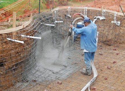 Набрызгивание бетонного раствора