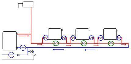 Горизонтальная схема ленинградка с шаровыми кранами и байпасами