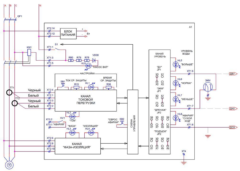 Схема управления насосом grundfos