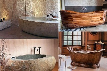 Каменная, медная и деревянная ванны