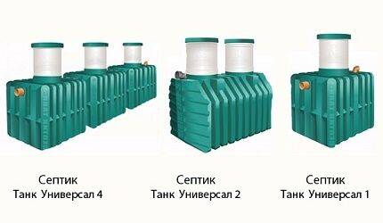 Variants of the device septic tank for giving Tank