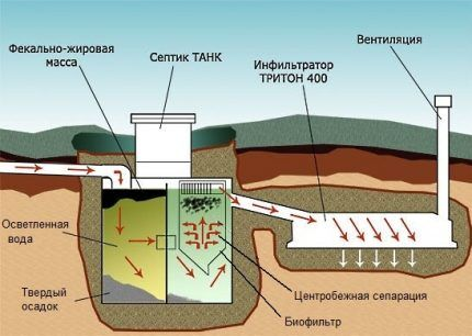The process of wastewater treatment in a septic tank