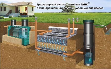 Installation scheme of septic tank for poorly absorbing soils