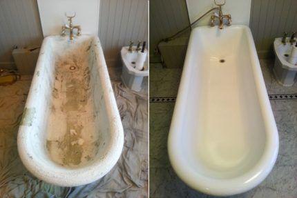 Ванна до и после восстановления