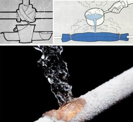 Оттаивание системы под струями горячей воды