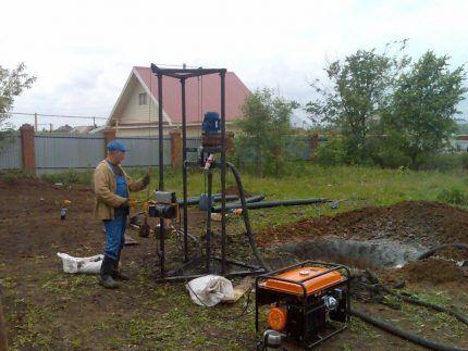 Приямки для гидробурения скважины на воду