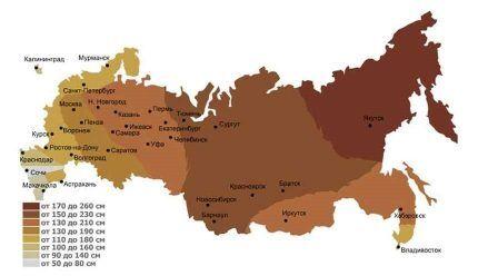 Карта регионов по глубине промерзания
