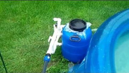 Установленный самодельный песочный фильтр
