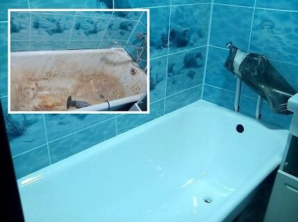 The result of painting the cast iron bath