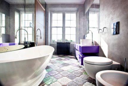 Смеситель в интерьере ванной комнаты