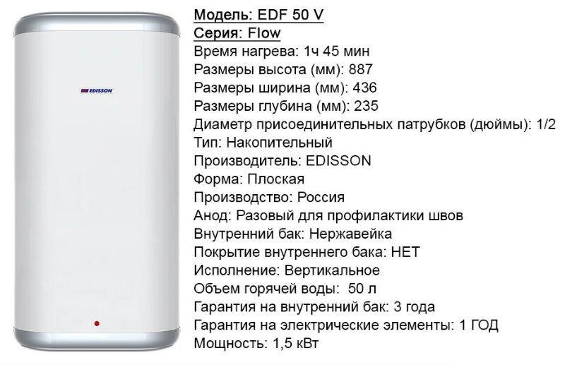Характеристики электрического водонагревателя