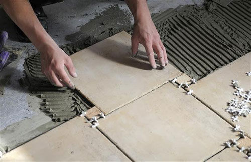 Ceramic tile baseboard installation