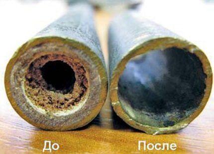 Трубы после химической промывки системы отопления