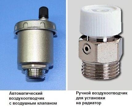 Устройства для отвода воздуха из закрытой системы отопления