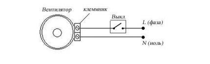 Схема подключения вентилятора с выключателем