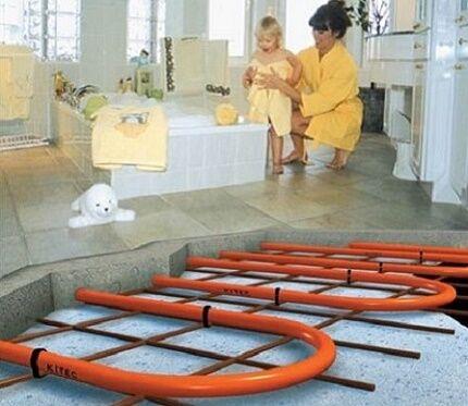Укладка плитки по водяному тёплому полу