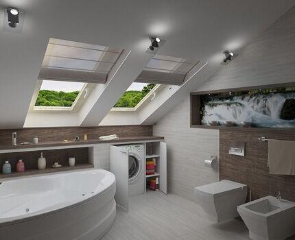 В мансарде ванная комната