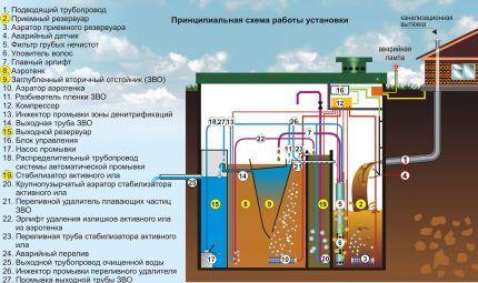 Схема работы станции биологической очистки