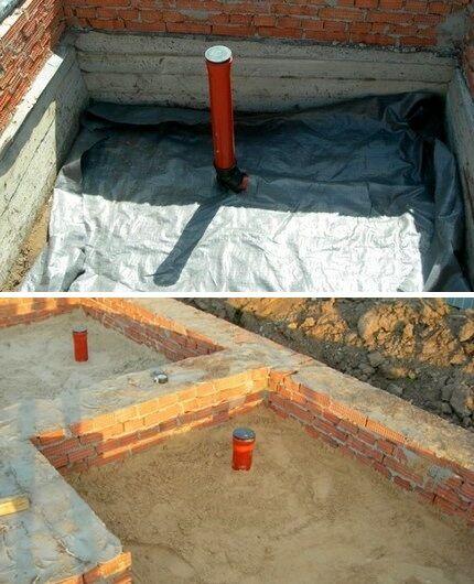 Гидроизоляция и песчаная отсыпка