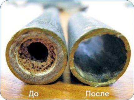 Стенки труб до и после чистки