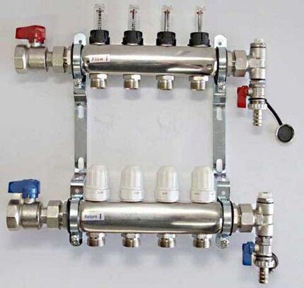 Гребенка с расходомерами и термоголовками