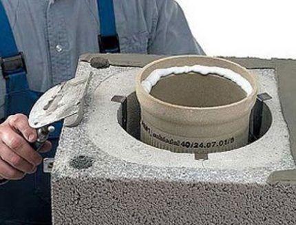 Installation of ceramic chimney