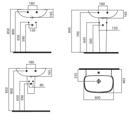 Монтажная схема раковины с пьедесталом