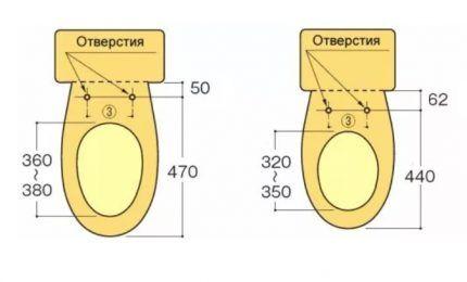 Схемы для подбора сидений унитазов