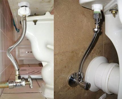 Separate faucet on the flexible connection to the toilet bowl