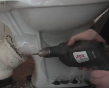 Drill for removal of iron drain