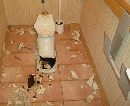 A lot of shattered from broken toilet