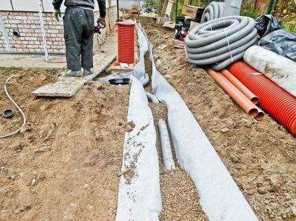 Installation of drainage around the house