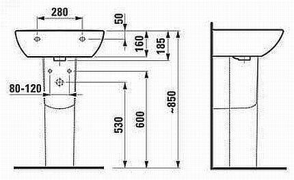 Схема определения высоты раковины