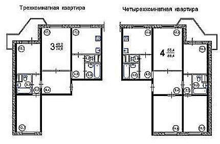 Схемы расположения санузлов в больших квартирах
