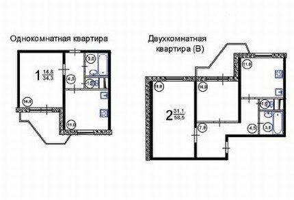 Схемы расположения санузлов в небольших квартирах