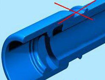 Неплотная посадка пластиковой трубы при пайке
