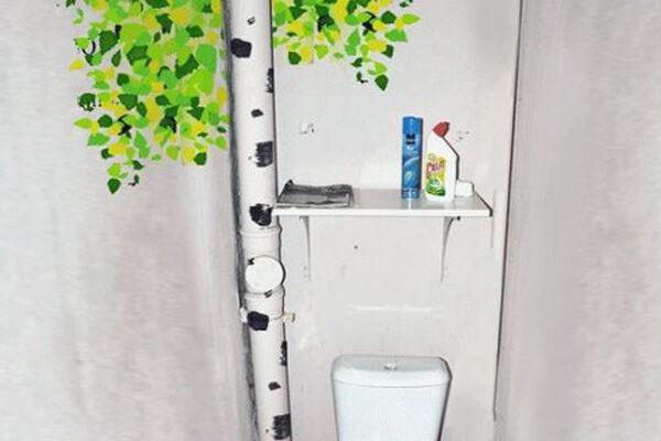 Как украсить трубу в туалете своими руками фото