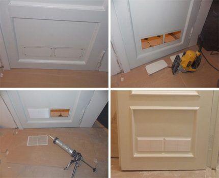 Процесс изготовления вентиляционного отверстия в двери