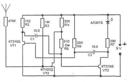 Схема простейшего детектора скрытой проводки