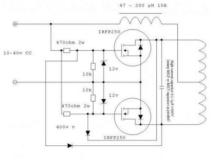 Подключение индукционной спирали